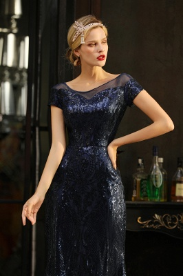 Navy Short Sleeve Sequins Prom Dress | Mermaid Long Evening Gowns_4