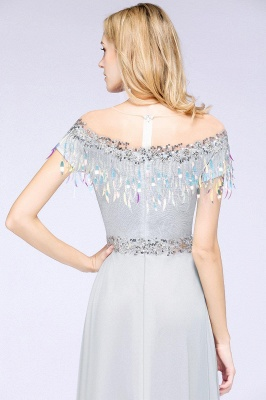 A-line Jewel Short Sleeves Sequins Evening Dress with Tassels in Stock_7