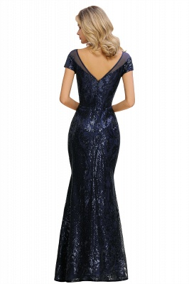 Navy Short Sleeve Sequins Prom Dress | Mermaid Long Evening Gowns_17