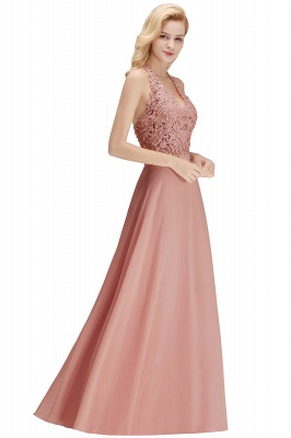 A-line Halter Chiffon Lace Bridesmaid Dress with Beadings On Sale_26