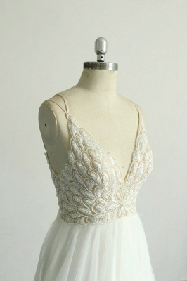 Gorgeous A-line White Lace Tulle Wedding Dress | Sleeveless Appliques Bridal Gowns_5