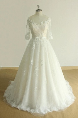 Unique Halfsleeves Lace Tulle Wedding Dress | A-line White Appliques Bridal Gowns