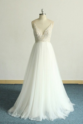 Gorgeous A-line White Lace Tulle Wedding Dress | Sleeveless Appliques Bridal Gowns_1