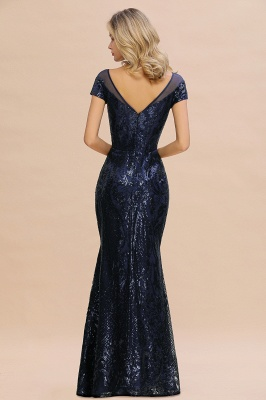 Navy Short Sleeve Sequins Prom Dress | Mermaid Long Evening Gowns_3