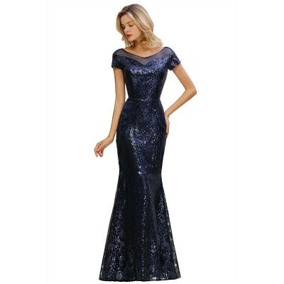 Navy Short Sleeve Sequins Prom Dress | Mermaid Long Evening Gowns_12