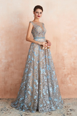 Designer Cap Sleeves Crystal Long Prom Dress With Blue Appliques_6