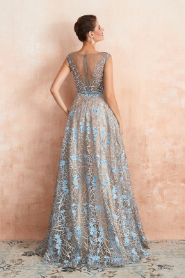 Designer Cap Sleeves Crystal Long Prom Dress With Blue Appliques_4