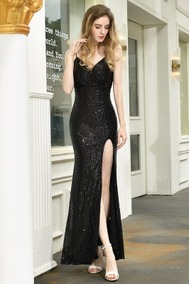 Sparkly Black Sequins Spaghetti Straps V-Neck Affordable Prom Dress_5