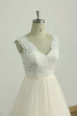 Elegant Lace Straps V-neck Appliques Wedding Dress | Tulle Ruffles A-line Bridal Gowns_4