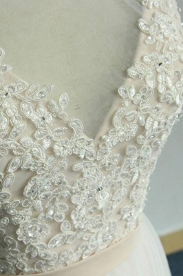 Chic Straps Sleeveless Appliques Wedding Dress | A-line Tulle White Bridal Gowns_8