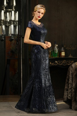 Navy Short Sleeve Sequins Prom Dress | Mermaid Long Evening Gowns_9
