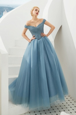 Princess Off-the-Shoulder Prom Dress | Beadings Sweetheart Ball Gown Evening Gowns_15