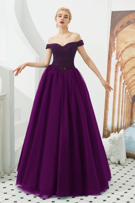 Princess Off-the-Shoulder Prom Dress | Beadings Sweetheart Ball Gown Evening Gowns_1