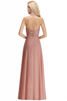 A-line Halter Chiffon Lace Bridesmaid Dress with Beadings On Sale_28