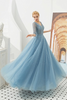 Dusty Blue V-Neck Half-Sleeve Prom Dress Long With Beadings Lace-up_4