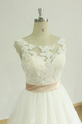 Chic Jewel Lace Appliques Wedding Dress | Sleeveless Tulle A-line Bridal Gowns_4
