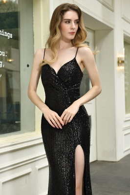 Sparkly Black Sequins Spaghetti Straps V-Neck Affordable Prom Dress_12