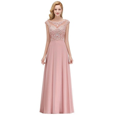 A-line Tulle Lace Bridesmaid Dress with Pearls On Sale_1
