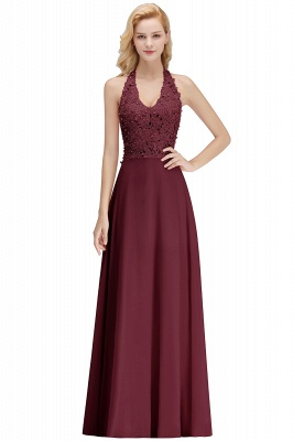 A-line Halter Chiffon Lace Bridesmaid Dress with Beadings On Sale_3