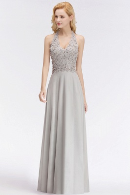 A-line Halter Chiffon Lace Bridesmaid Dress with Beadings On Sale_10