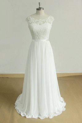 Stylish White Chiffon Lace Wedding Dress | Jewel Sleeveless Bridal Gowns