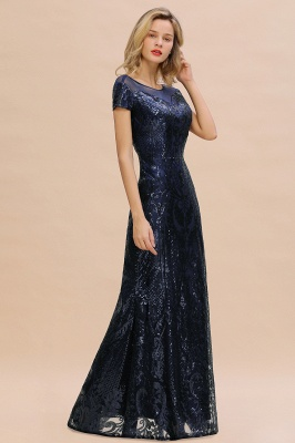 Navy Short Sleeve Sequins Prom Dress | Mermaid Long Evening Gowns_11