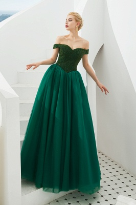 Princess Off-the-Shoulder Prom Dress | Beadings Sweetheart Ball Gown Evening Gowns_7