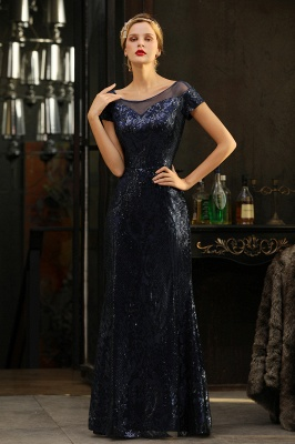Navy Short Sleeve Sequins Prom Dress | Mermaid Long Evening Gowns_8