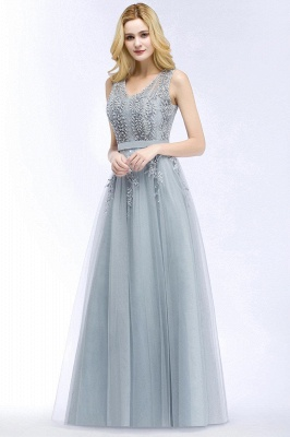 Stylish V-neck Tulle Lace Long Evening Dress in Stock_4