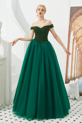 Princess Off-the-Shoulder Prom Dress | Beadings Sweetheart Ball Gown Evening Gowns_8