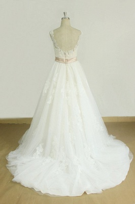 Chic Jewel Lace Appliques Wedding Dress | Sleeveless Tulle A-line Bridal Gowns_3