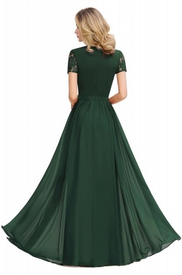 Chic A-line Chiffon Lace Bridesmaid Dress with Short Sleeves On Sale_8