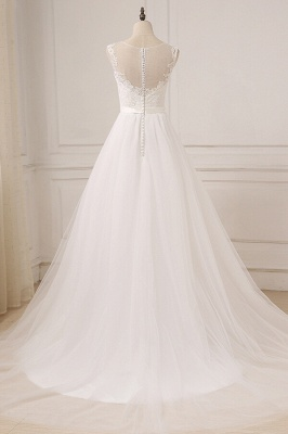 Glamorous Tulle Sleeveless Jewel Wedding Dress | White A-line Appliques Bridal Gowns_3