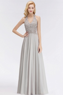 A-line Halter Chiffon Lace Bridesmaid Dress with Beadings On Sale_8