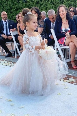 Princess Lace Tulle Flower Girl Dress With Sleeves On Sale_2