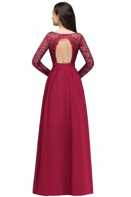 Elegant A-line Chiffon Lace Long Sleeves Evening Dress in Stock_3