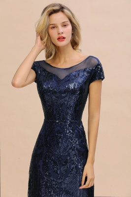 Navy Short Sleeve Sequins Prom Dress | Mermaid Long Evening Gowns_5