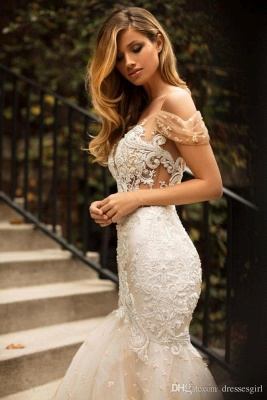 2020 Mermaid Off-the-Shoulder Wedding Dress | Tulle Appliques Bridal Gowns WW0104_4