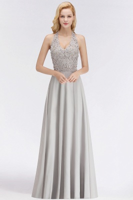 A-line Halter Chiffon Lace Bridesmaid Dress with Beadings On Sale_6