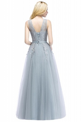 Stylish V-neck Tulle Lace Long Evening Dress in Stock_7