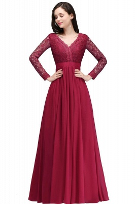Elegant A-line Chiffon Lace Long Sleeves Evening Dress in Stock_1