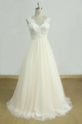 Elegant Lace Straps V-neck Appliques Wedding Dress | Tulle Ruffles A-line Bridal Gowns