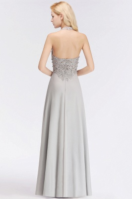 A-line Halter Chiffon Lace Bridesmaid Dress with Beadings On Sale_7