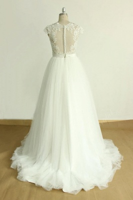 Stylish White Tulle Lace Wedding Dress | Appliques A-line Ruffles Bridal Gowns_3