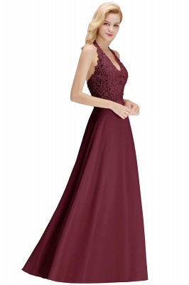 A-line Halter Chiffon Lace Bridesmaid Dress with Beadings On Sale_33