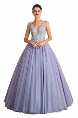 Gorgeous Lavender Lace Prom Dress | V-Neck Ball Gown Tulle Formal Wears_1