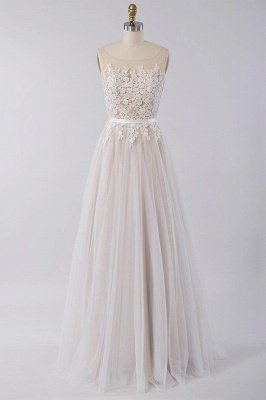 Affordable Sleeveless Jewel Appliques Wedding Dress | Tulle Ruffles A-line Bridal Gowns_1