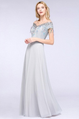 A-line Jewel Short Sleeves Sequins Evening Dress with Tassels in Stock_4