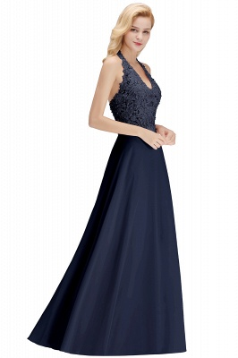 A-line Halter Chiffon Lace Bridesmaid Dress with Beadings On Sale_23
