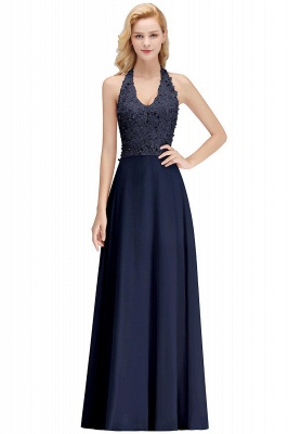 A-line Halter Chiffon Lace Bridesmaid Dress with Beadings On Sale_14